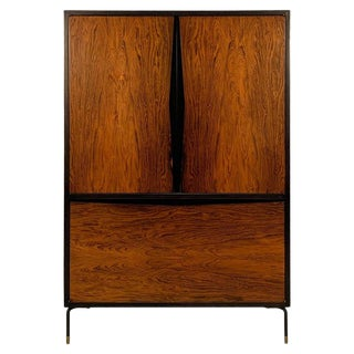1970s Mid-Century Modern Rosewood Dry Bar Cabinet For Sale