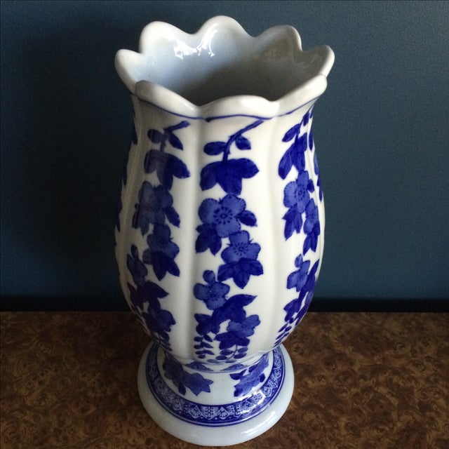 Seymour Mann China Blue Porcelain Vase For Sale - Image 4 of 6