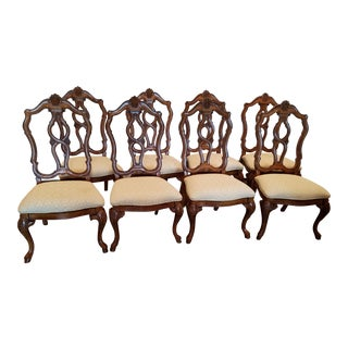 Carved Upholstered Dining Chairs - Set of 8