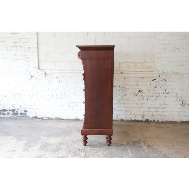 Immaculate American Empire Flame Mahogany Highboy Chest of Drawers, Dated 1886 For Sale - Image 11 of 13