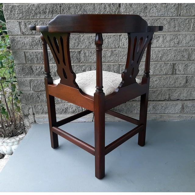 The Bartley Collection Furniture Solid Mahogany Corner Chair Embroidered Linen Upholstered Seat For Sale - Image 4 of 13