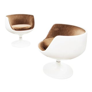 1966 Eero Aarnio for Asko Finland Fiberglass & Brown Velvet Swivel Chairs - a Pair For Sale