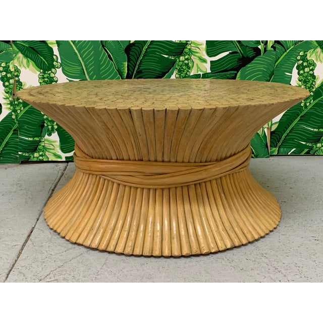 Mid-Century Modern McGuire Sheaf of Wheat Rattan Coffee Table For Sale - Image 3 of 8