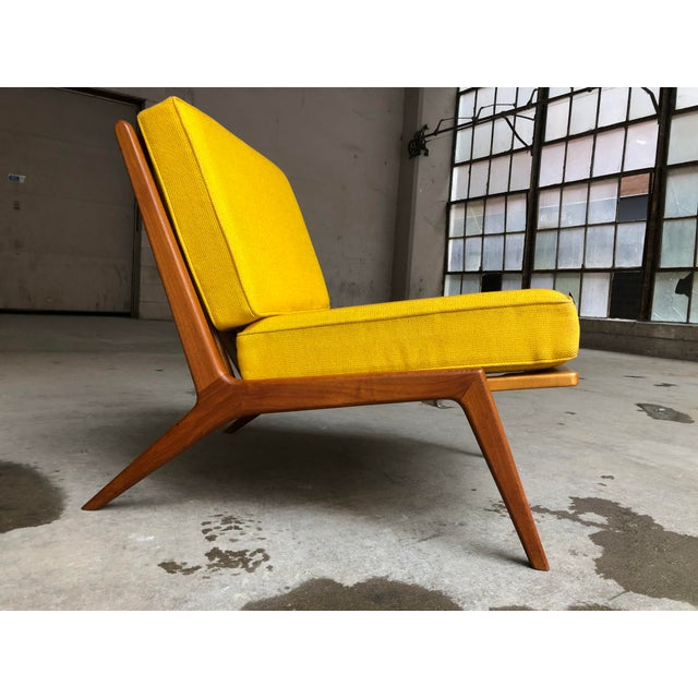 Ib Kofod-Larsen Mid Century Danish Modern Ib Kofod-Larsen for Selig Teak Lounge Chair Yellow Cushions For Sale - Image 4 of 7