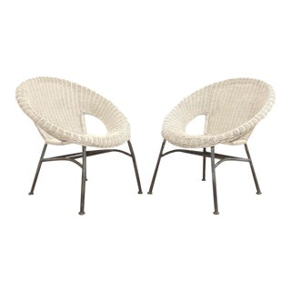 Mid Century Modern Wicker and Iron Stacking Saucer Chairs - a Pair