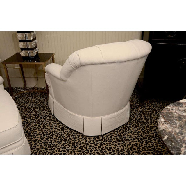 White Ivory Tufted Swivel Chair For Sale - Image 8 of 9