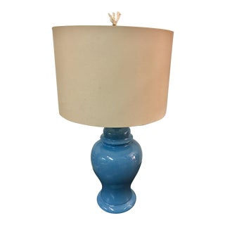 Ocean Blue Jar Lamp With Coral Finial