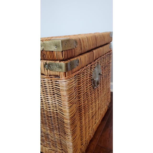 Vintage Wicker Rattan Trunk For Sale - Image 4 of 13