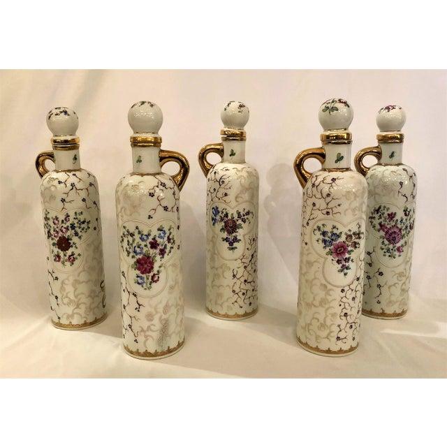 Set of 5 Antique 19th Century Spanish Liquor Bottles. (Rum, Gin, Sherry, Whiskey, Cognac)