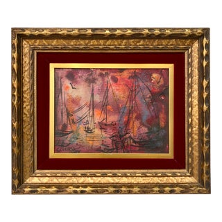 Vintage Pascal Cucaro 'Sail Boat' Oil Painting on Board, Framed For Sale