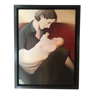 "Realist Oil Painting on Canvas, ""Mother & Son"" For Sale"