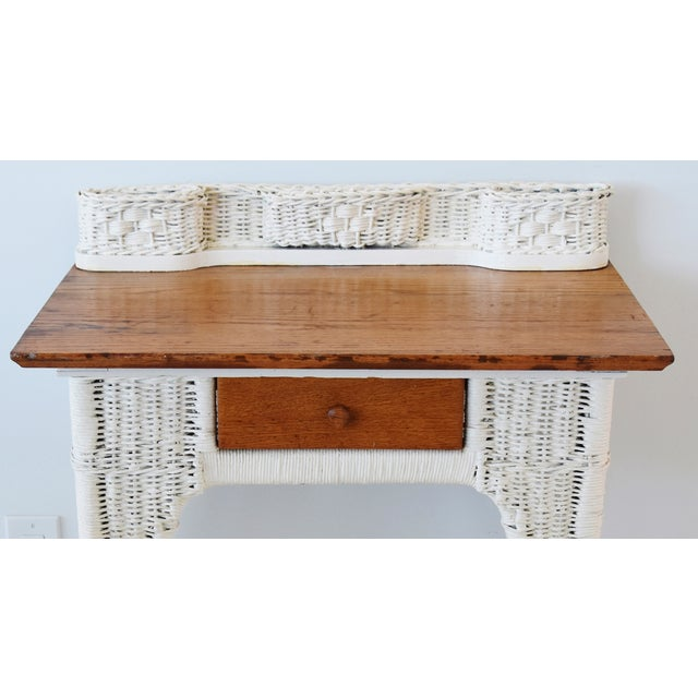 Boho Chic Antique Painted Wicker & Oak Writing Desk Table For Sale - Image 3 of 13