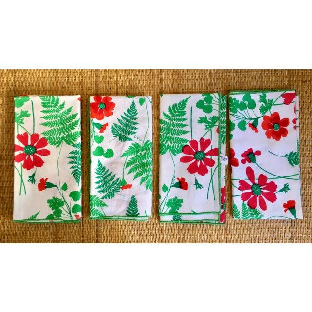Boho Chic Vintage Vera Floral Cotton Napkins With Ferns- Set of Four For Sale - Image 3 of 5