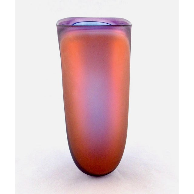 Beautiful Samphire Frosted Glass Vase - Cobalt, Wine, and Red For Sale In Los Angeles - Image 6 of 11