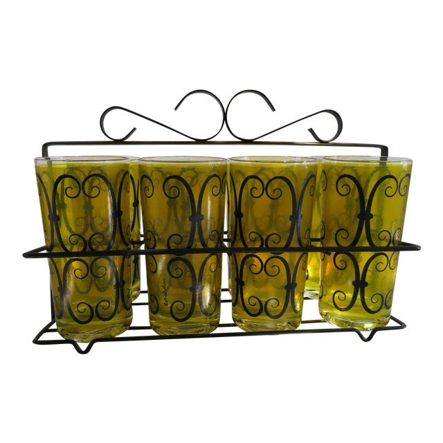 Fred Press Chartreuse Mid-Century Tumblers W/ Metal Carrier - Image 1 of 6