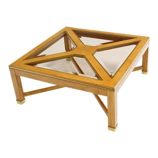 1980s Contemporary Bird's-Eye Maple With a Square Glass Top Coffee Table For Sale