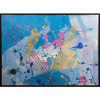 "1980s Frank Rowland ""Airborne"" Original Mixed Media Art on Paper With Gold Leaf For Sale"