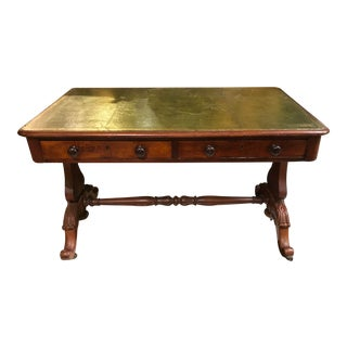 19th Century English Tooled Leather Top Writing Desk For Sale