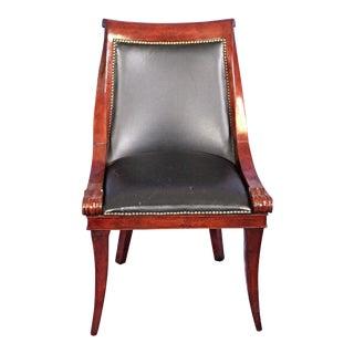 Neoclassical Mahogany Black Leather Half Armchair