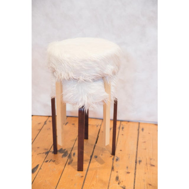 Faux Fur Alvar Aalto Stye Stool For Sale In New York - Image 6 of 7