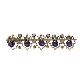 Victorian 14k Amethyst and Seed Pearl Brooch For Sale