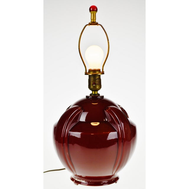 Art Deco Oxblood Reverse Painted Glass Table Lamp For Sale - Image 13 of 13