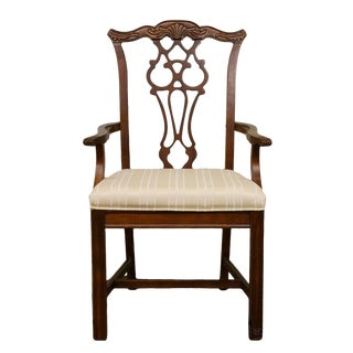 Bernhardt Furniture Chippendale Style Dining Arm Chair For Sale