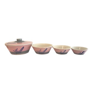Mid-Century Pink and Turquoise Ombre Pottery Nesting Bowls - Set of 4