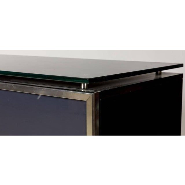 Hollywood Regency 1970s Hollywood Regency Black Smoked Mirror and Midnight Blue Credenza For Sale - Image 3 of 8