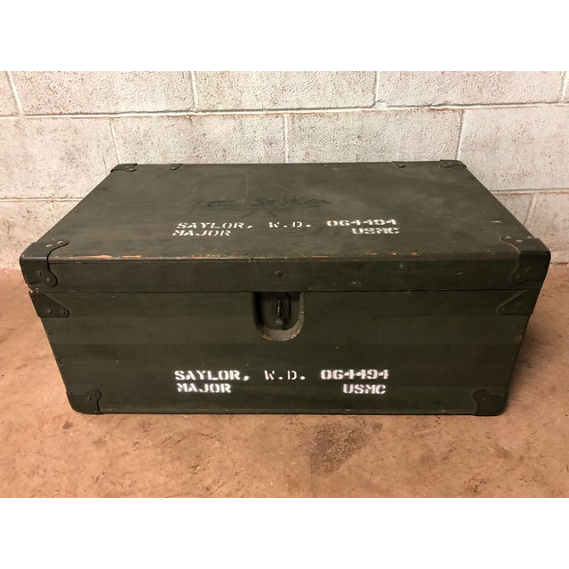 Vintage Industrial Green Wood Military Foot Locker Trunk W Tray For Sale - Image 12 of 12