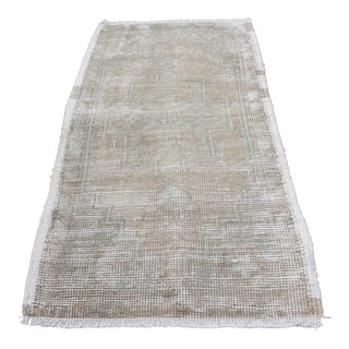 1960s Turkish Muted Tone Oushak Rug - 36'' X 20'' Inches