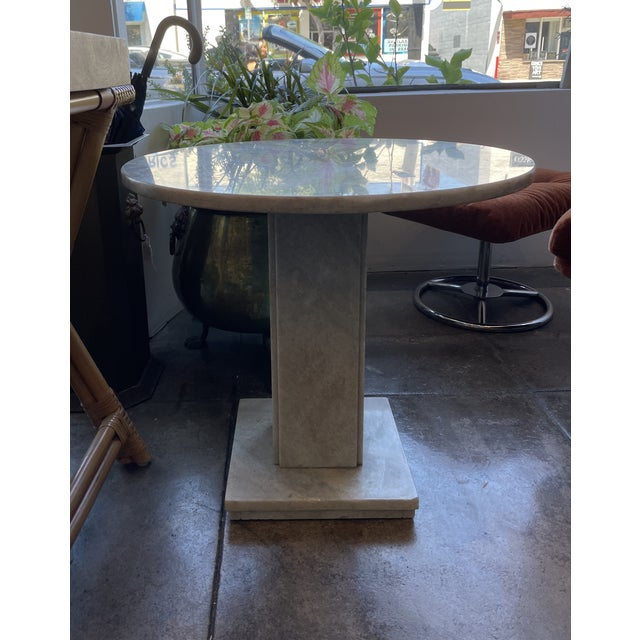 Neoclassical Circular Marble Side Table For Sale - Image 4 of 10