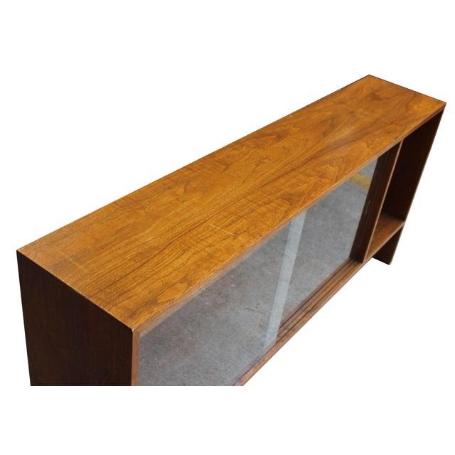 Walnut Bookshelf with Sliding Glass Doors For Sale - Image 4 of 6