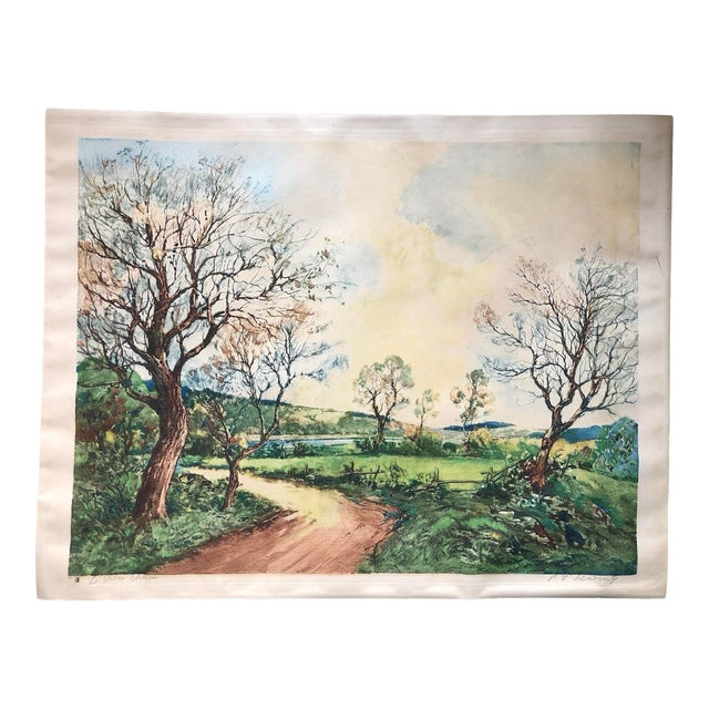 French Countryside Print by Paul Lecomte For Sale