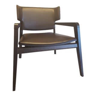 """Italian Made """"Lucie"""" Chair of Espresso Beechwood and Brown Faux-Leather For Sale"""