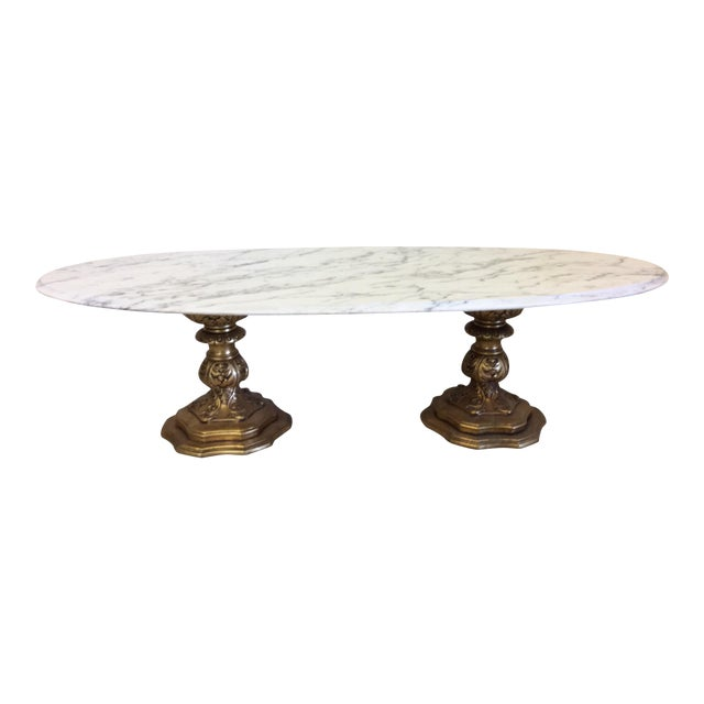 Fuggiti Studios Italian Carrara Marble & Gold Gilt Coffee Table - Image 1 of 11