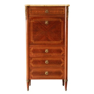 19th Century French Inlaid Abattant Secretaire For Sale