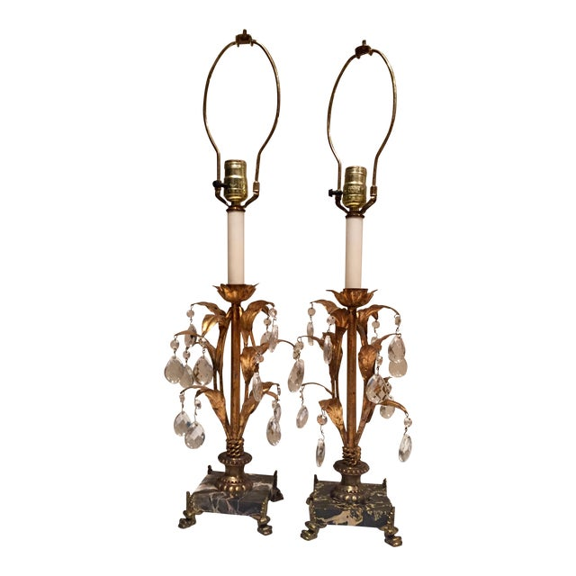Italian Hollywood Regency Gilt Tole, Marble & Crystal Table Lamps For Sale