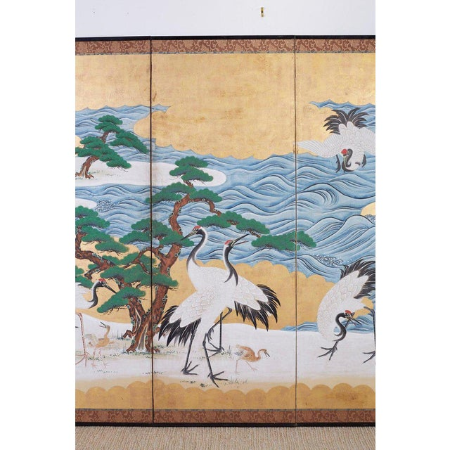 Japanese Six Panel Screen of Cranes by the Sea For Sale In San Francisco - Image 6 of 13