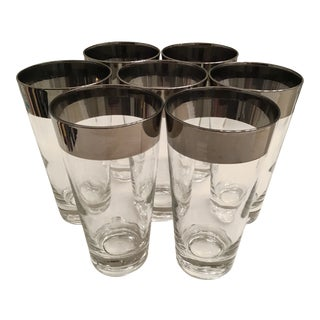 Vintage Mid Century Dorothy Thorpe Silver Rimmed Highball Cocktail - Glasses Set of 7 For Sale