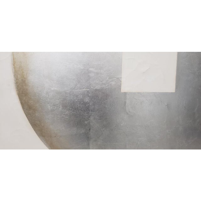 Canvas Large Scale Abstract Silver & Gold Oil Painting by Johnson C.1970 For Sale - Image 7 of 12