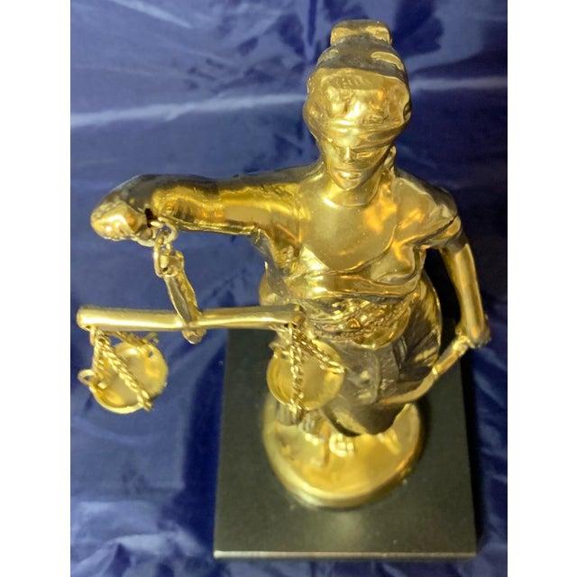 Neoclassical Vintage Blind Justice Gold Metal Spelter Figurine For Sale - Image 3 of 13