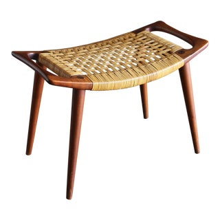 Hans Wegner Teak and Cane Stool for Johannes Hansen Circa 1955 For Sale