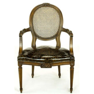 Pair Louis XVI Mahogany & Cane Arm Chairs With Tortoiseshell Leather Preview