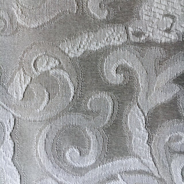 Greige Damask Queen Anne Wingback Chairs - a Set For Sale - Image 6 of 11