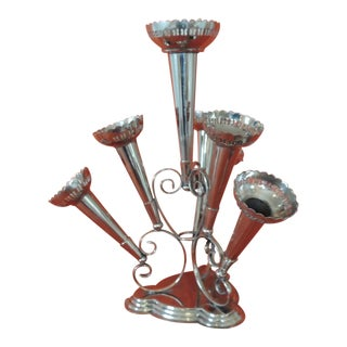 Silver Plated Epergne Seven Trumpets Centerpiece For Sale