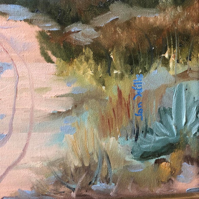1960s Vintage Jan Wills Western Impressionist Landscape With Adobe Oil on Canvas Painting For Sale - Image 4 of 5