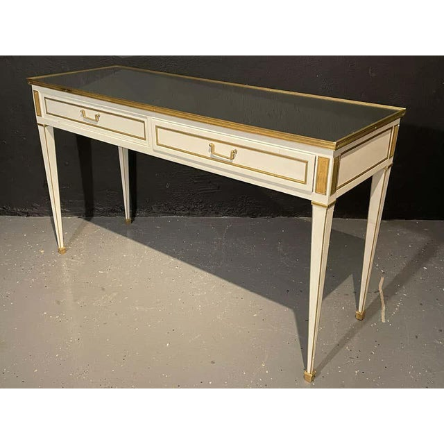 Jansen Hollywood Regency Style Console / Sofa Tables, Mirrored & Painted - a Pair For Sale - Image 9 of 13