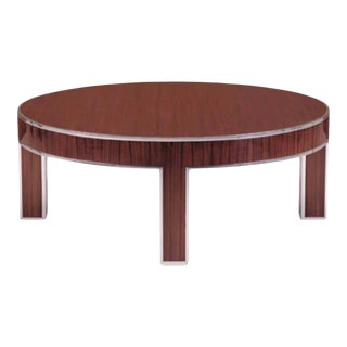 Polished Stainless Steel and Rosewood Coffee Table For Sale
