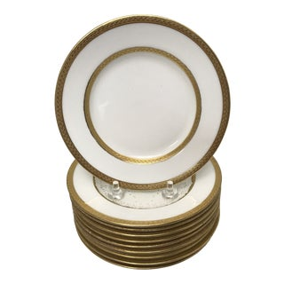 Early 20th Century Gold Rimmed Bread Plates - Set of 10 For Sale